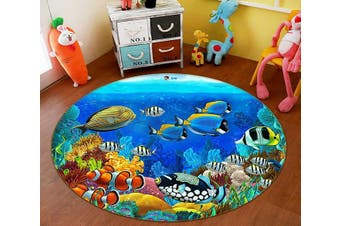 3D Deep Sea Fish 007 Round Non Slip Rug Mat, 200cm(78.7'')