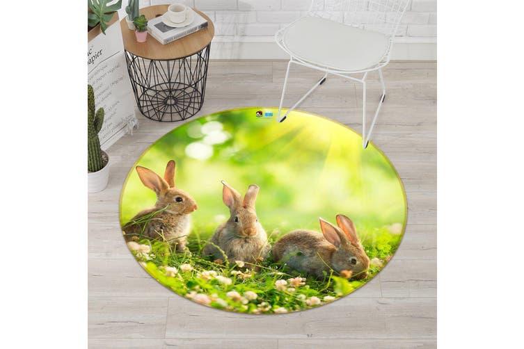3D Cute Rabbit 006 Round Non Slip Rug Mat, 180cm(70.9'')