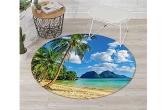 3D Beach Coconut 004 Round Non Slip Rug Mat, 120cm(47.2'')