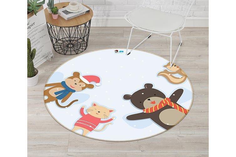 3D Cartoon Bear 003 Round Non Slip Rug Mat, 100cm(39.4'')