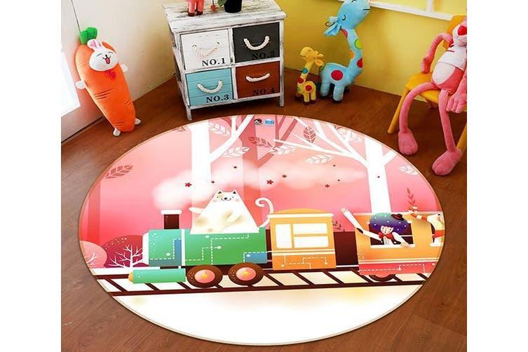3D Cartoon Train 002 Round Non Slip Rug Mat, 60cm(23.6'')