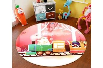 3D Cartoon Train 002 Round Non Slip Rug Mat, 180cm(70.9'')