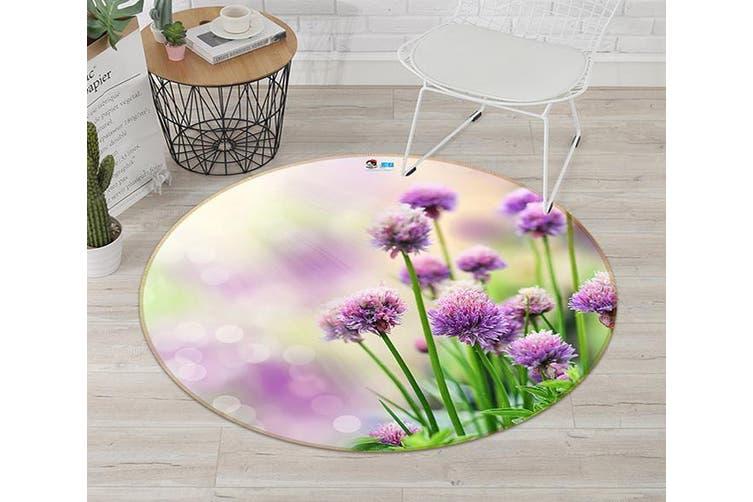 3D Violet Grass 001 Round Non Slip Rug Mat, 100cm(39.4'')