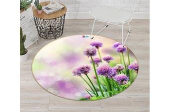 3D Violet Grass 001 Round Non Slip Rug Mat, 160cm(63'')