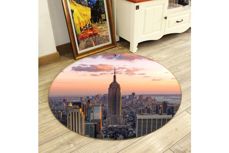3D Sunset New York 138 Round Non Slip Rug Mat, 60cm(23.6'')