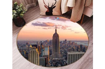 3D Sunset New York 138 Round Non Slip Rug Mat, 160cm(63'')