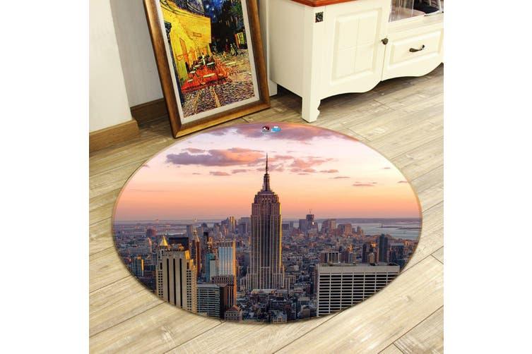 3D Sunset New York 138 Round Non Slip Rug Mat, 180cm(70.9'')