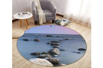 3D Sea Stones 135 Round Non Slip Rug Mat, 180cm(70.9'')
