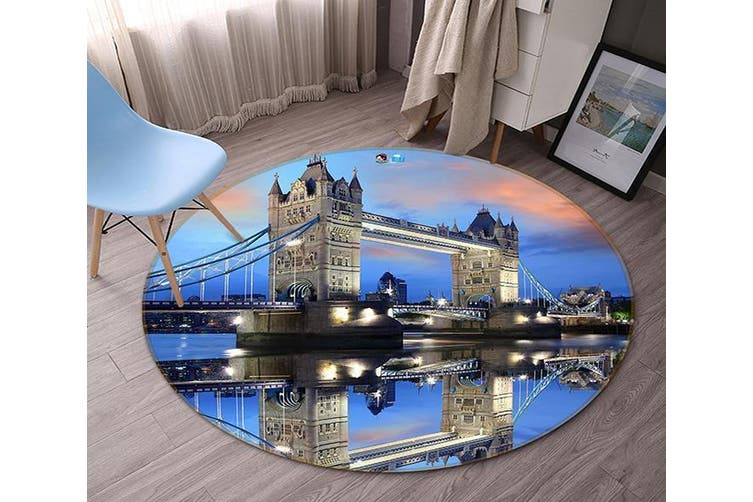 3D London Bridge Scenery 140 Round Non Slip Rug Mat, 60cm(23.6'')