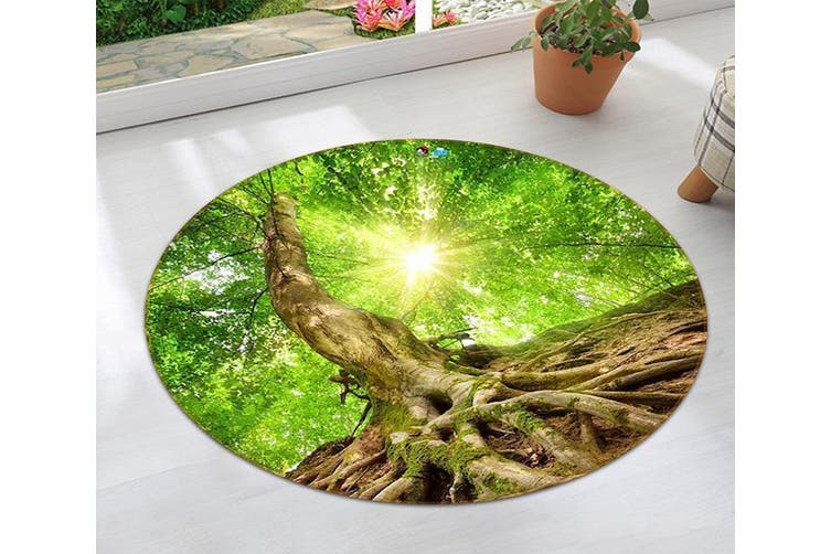 3D Green Tree Roots 138 Round Non Slip Rug Mat, 100cm(39.4'')