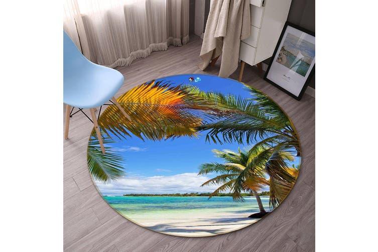 3D Tropical Beach Scenery 131 Round Non Slip Rug Mat, 200cm(78.7'')