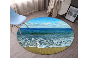 3D Pretty Blue Sea 136 Round Non Slip Rug Mat, 60cm(23.6'')