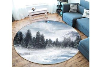3D Forest Snow Scene 130 Round Non Slip Rug Mat, 180cm(70.9'')