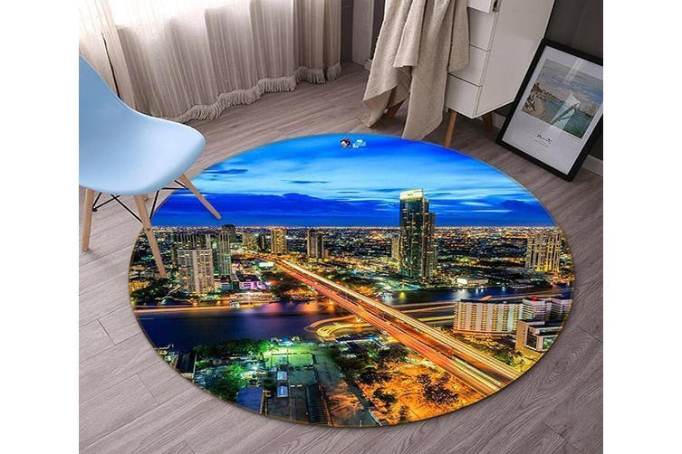 3D City Night Scene 128 Round Non Slip Rug Mat, 160cm(63'')
