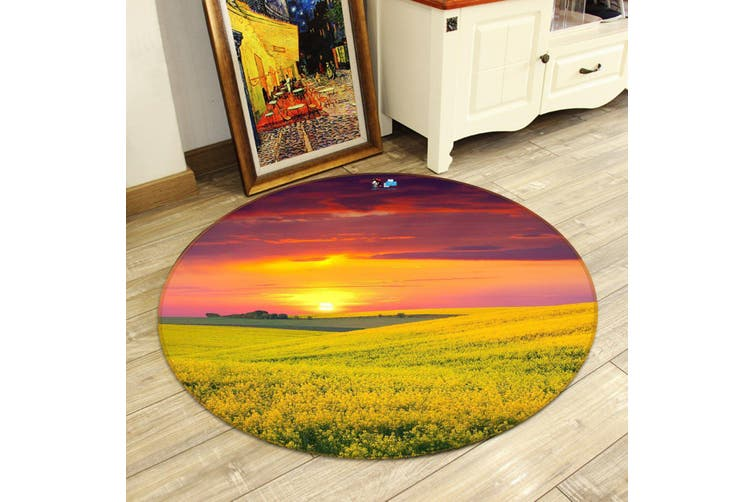 3D Flowers Field Sunset 126 Round Non Slip Rug Mat, 100cm(39.4'')