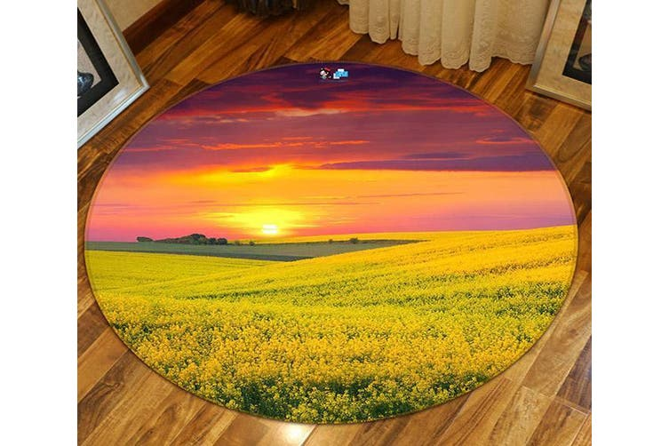 3D Flowers Field Sunset 126 Round Non Slip Rug Mat, 160cm(63'')