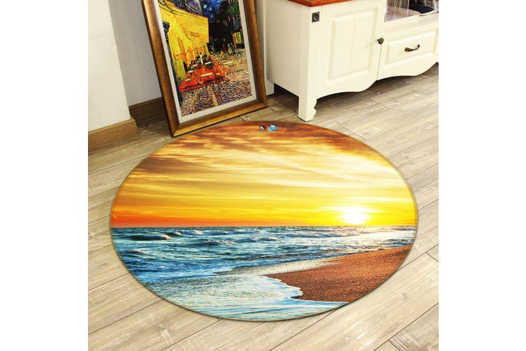 3D Bright Sea 126 Round Non Slip Rug Mat, 60cm(23.6'')