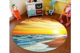 3D Bright Sea 126 Round Non Slip Rug Mat, 100cm(39.4'')