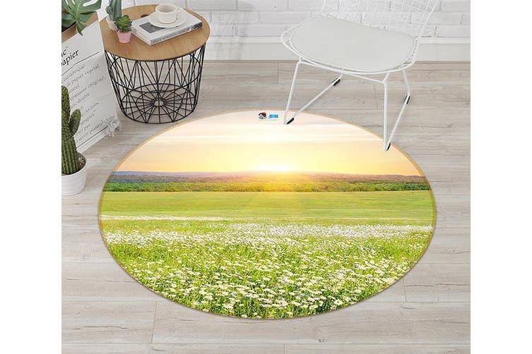 3D Grassland Flowers 124 Round Non Slip Rug Mat, 180cm(70.9'')