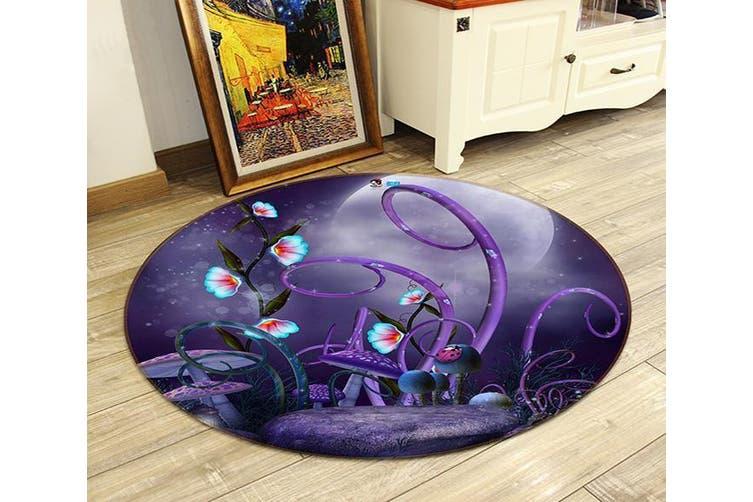3D Mushrooms 119 Round Non Slip Rug Mat, 160cm(63'')