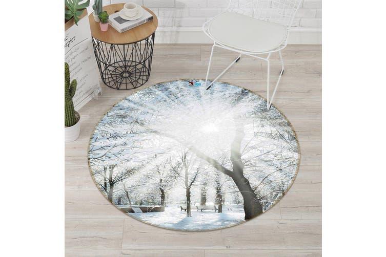 3D Snow Trees Bright Sun 122 Round Non Slip Rug Mat, 160cm(63'')