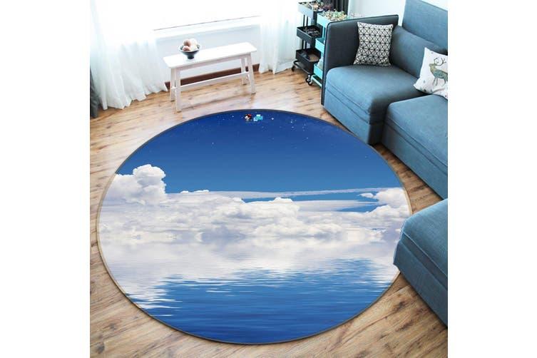 3D Blue Sea White Clouds 117 Round Non Slip Rug Mat, 100cm(39.4'')