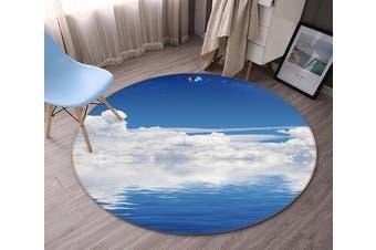 3D Blue Sea White Clouds 117 Round Non Slip Rug Mat, 180cm(70.9'')