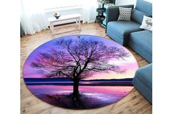 3D Pretty Lake Sunset 124 Round Non Slip Rug Mat, 100cm(39.4'')