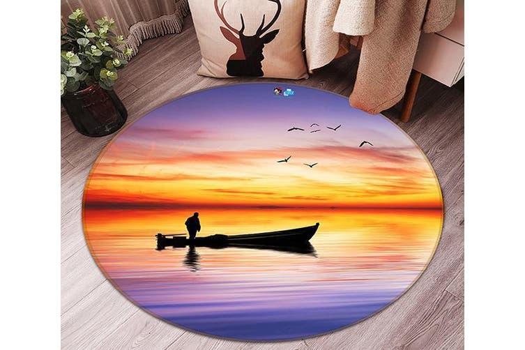 3D Calm Sea Sunset 122 Round Non Slip Rug Mat, 120cm(47.2'')