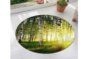 3D Green Trees Yellow Sunshine 120 Round Non Slip Rug Mat, 160cm(63'')