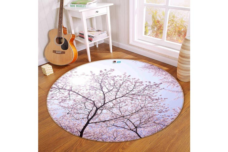 3D Pink Flowers Trees 120 Round Non Slip Rug Mat, 100cm(39.4'')
