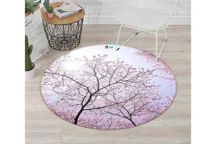 3D Pink Flowers Trees 120 Round Non Slip Rug Mat, 120cm(47.2'')