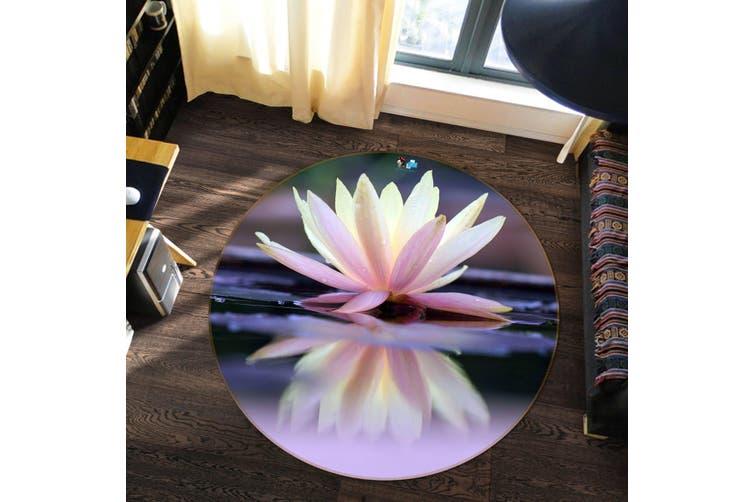 3D Pretty Lily 97 Round Non Slip Rug Mat, 100cm(39.4'')
