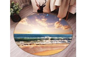 3D Sea Landscape 100 Round Non Slip Rug Mat, 100cm(39.4'')