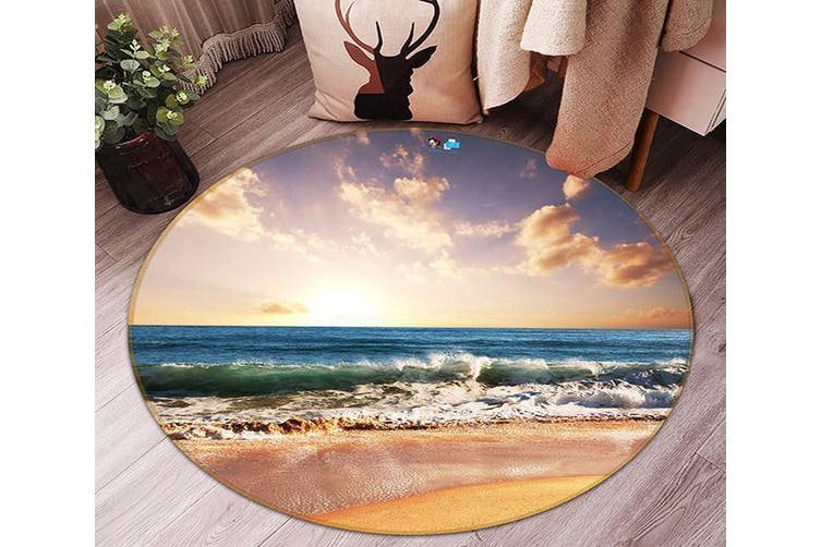 3D Sea Landscape 100 Round Non Slip Rug Mat, 120cm(47.2'')