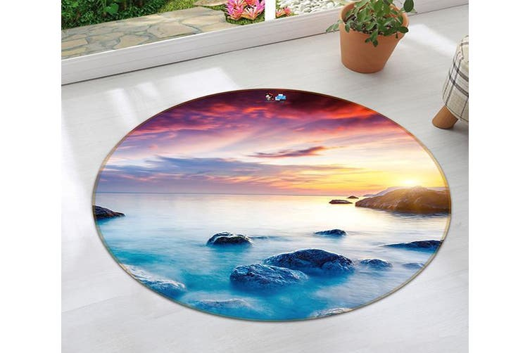 3D Colorful Sea Scenery 93 Round Non Slip Rug Mat, 100cm(39.4'')