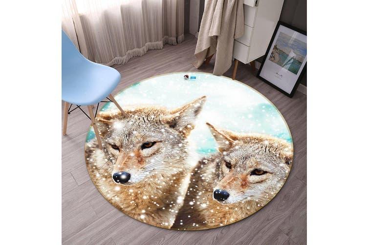 3D Snow Field Wolves 98 Round Non Slip Rug Mat, 100cm(39.4'')