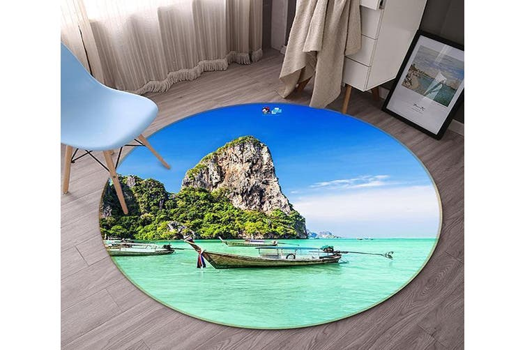 3D Tropical Sea 91 Round Non Slip Rug Mat, 180cm(70.9'')
