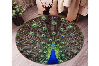 3D Spreading Tail Peacock 96 Round Non Slip Rug Mat, 100cm(39.4'')