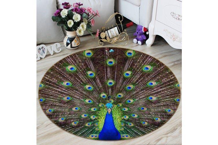 3D Spreading Tail Peacock 96 Round Non Slip Rug Mat, 160cm(63'')