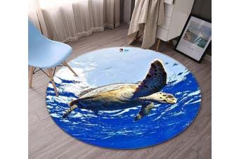 3D Blue Ocean Turtle 89 Round Non Slip Rug Mat, 120cm(47.2'')