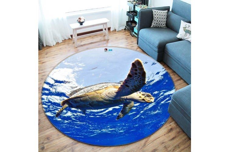 3D Blue Ocean Turtle 89 Round Non Slip Rug Mat, 200cm(78.7'')