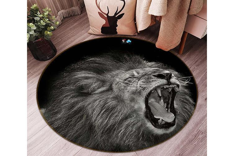 3D Laughing Lion 87 Round Non Slip Rug Mat, 120cm(47.2'')