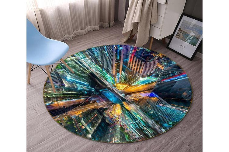3D City Tall Buildings 94 Round Non Slip Rug Mat, 120cm(47.2'')