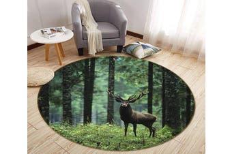 3D Forest Deer 92 Round Non Slip Rug Mat, 160cm(63'')