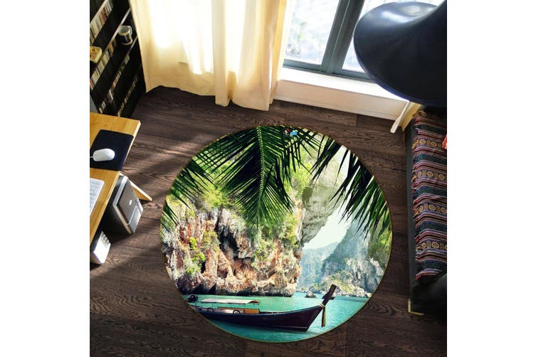3D Bay Scenery 85 Round Non Slip Rug Mat, 120cm(47.2'')