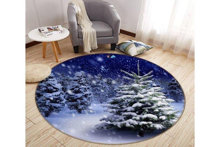 3D Snowing Forest 88 Round Non Slip Rug Mat, 180cm(70.9'')