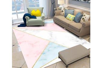 "3D Pink Blue Triangle WG096 Non Slip Rug Mat, 120cmx180cm (47.2""x70.9"")"