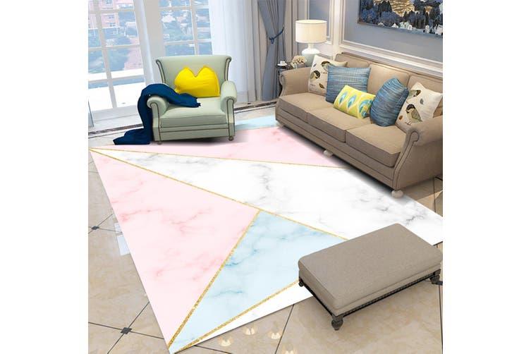 "3D Pink Blue Triangle WG096 Non Slip Rug Mat, 140cmx200cm (55.1""x78.8"")"