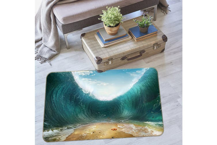 3D Waves Beach 36015 Non Slip Rug Mat